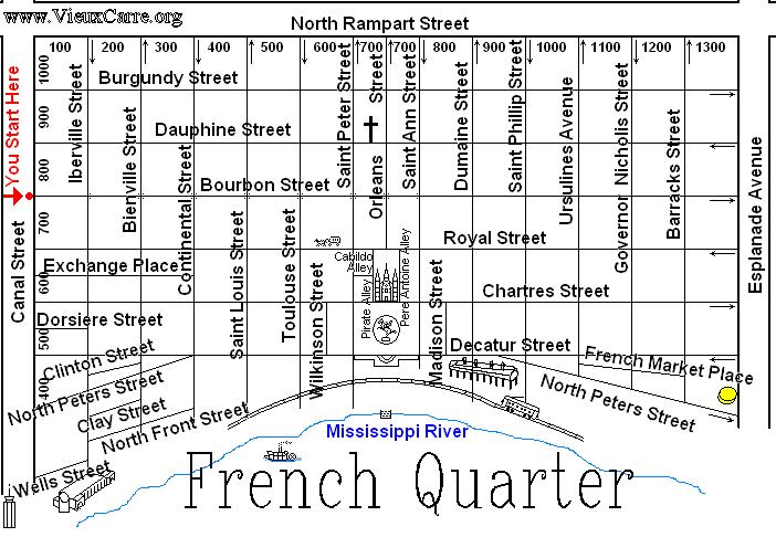 The French Quarter AKA Vieux Carre in New Orleans Louisiana – New Orleans French Quarter Tourist Map